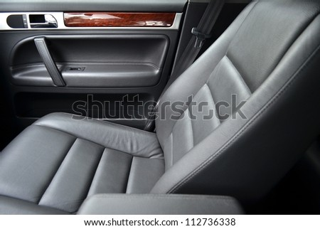 Leather car seat, close up - stock photo