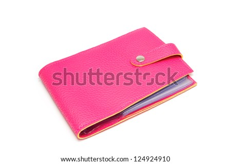 leather cards holder on a white background - stock photo