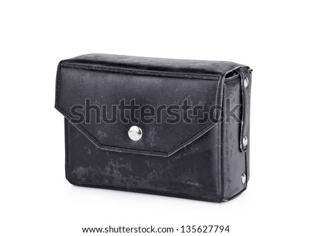 Leather case for old camera flash isolated on white background.