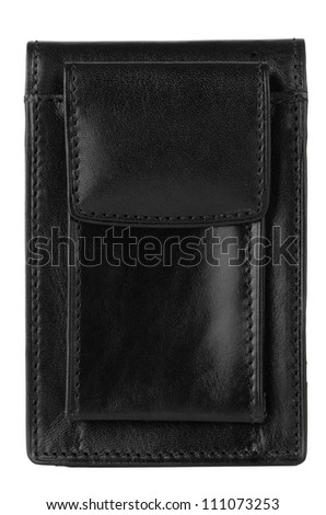 Leather case for smartphone isolated on white background.