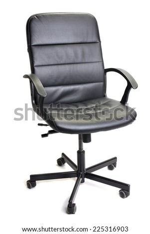 Leather chair, black. On a white background, isolated