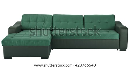 Leather corner sofa isolated on white include clipping path - stock photo