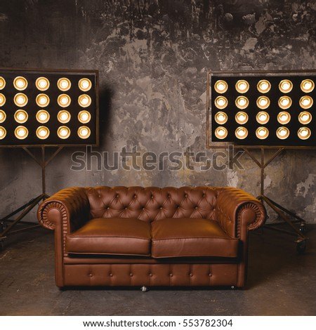 Leather Couch Dark Room On Background Stock Photo 553753027 ...