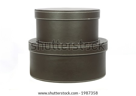 Leather covered hat boxes