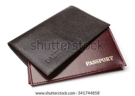 Leather covers for passport on white background