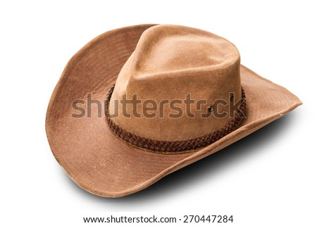 leather cowboy hat closeup isolated on a white background - stock photo