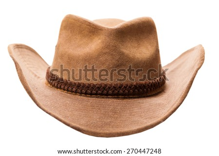 leather cowboy hat isolated on a white background - stock photo