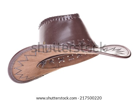Leather cowboy hat on white background - stock photo