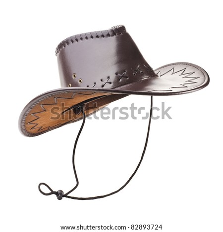 Leather cowboy hat on white background - stock photo