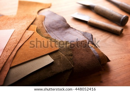 Leather craft leather working selected pieces stock photo for Leather sheets for crafting