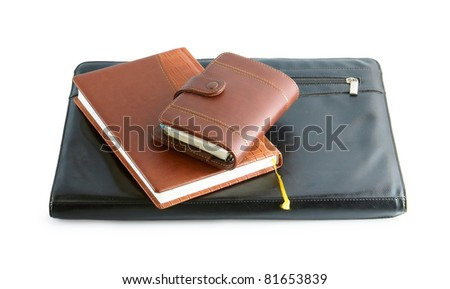 leather folder with the diaries isolated on a white background - stock photo