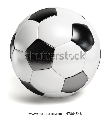 Leather football. Single soccer ball isolated on white background - stock photo
