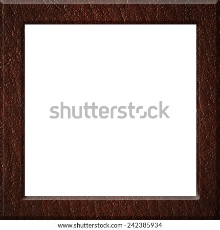 Leather frame isolated on white background - stock photo