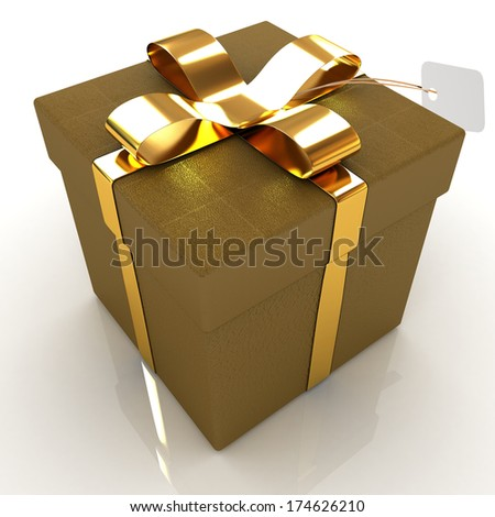 Leather gift-box with gold ribbon - stock photo
