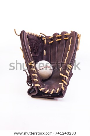 Leather glove with a baseball inside