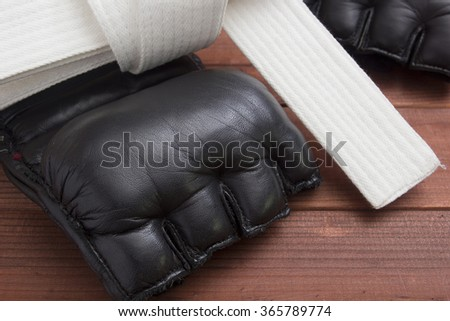 Leather Gloves for fighting without rules and boxing.