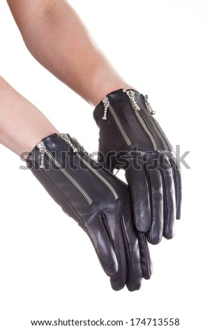 leather gloves isolated on a white background - stock photo