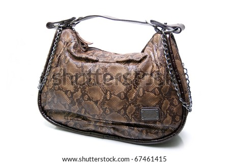 Leather handbag isolated on white - stock photo