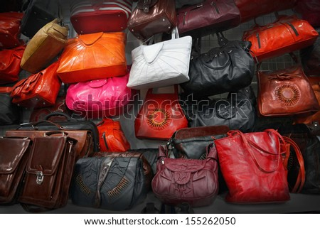 Leather handbags - stock photo