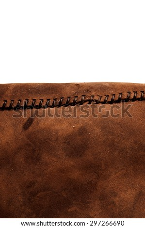 Leather Handmade Stitch (Brown Tan). Handcrafted Leather, Hand Sewing and Stitching. Rustic Style. Isolated on White Background. Vertical. - stock photo