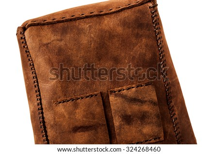 Leather Handmade Stitch, Making of Bag Design (Brown). Handcrafted Leather, Hand Sewing and Stitching. Rustic Style. Isolated on White Background.