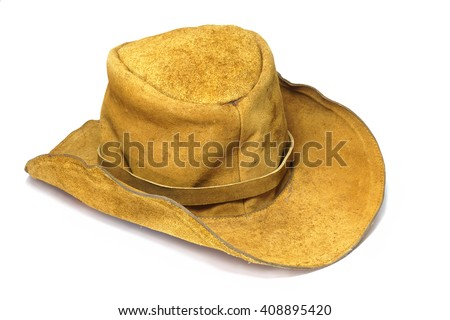Leather hat in white background. - stock photo