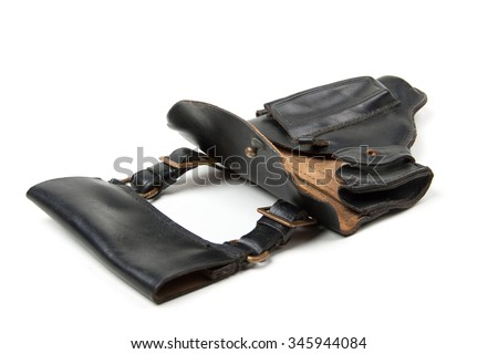 Leather holster, isolated on white background
