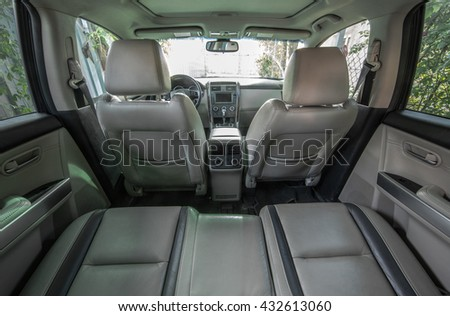 leather interior of the car, rear view