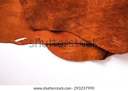 Leather Isolated with White, Orange Tan Brown, Concept and Idea Style of Fine Leather Crafting, Handcrafts, Handmade, Handcrafted, Leather Worker. Background Textured and Wallpaper. Rustic Style. - stock photo