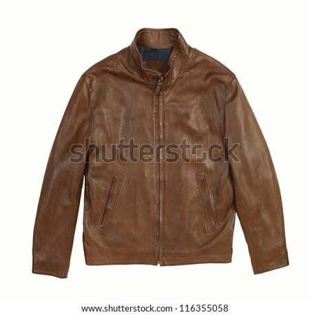 leather jacket isolated on white background - stock photo