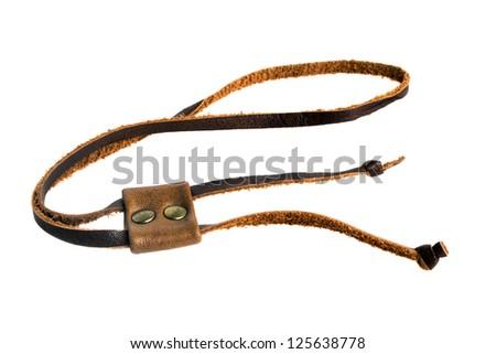 Leather Label isolated on white background - stock photo