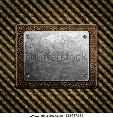 Leather label on fabric background - stock photo