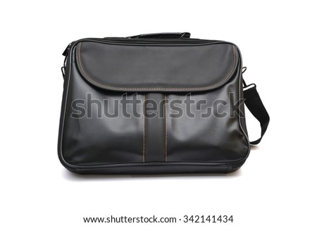 Leather laptop bag black color on white background - stock photo