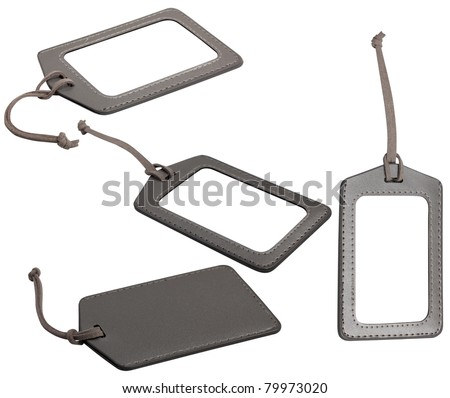 leather luggage tags - stock photo