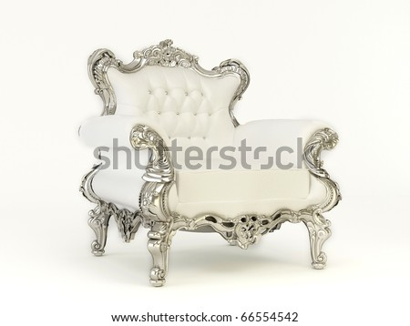 Leather luxurious armchair with royal frame isolated on white background