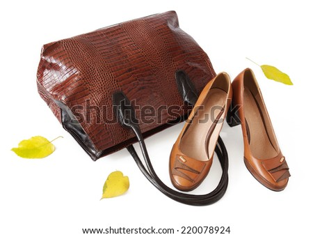 Leather luxury woman bag and shoes isolated on white background with autumn leaves. Autumn sales concept - stock photo