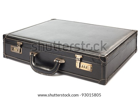 Leather manager suitcase on white background - stock photo
