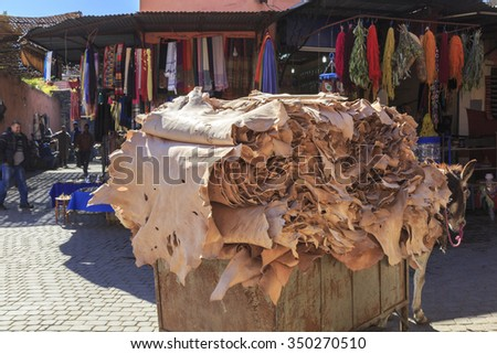 Leather market in Marrakech, Morocco. 25-02-2015 - stock photo