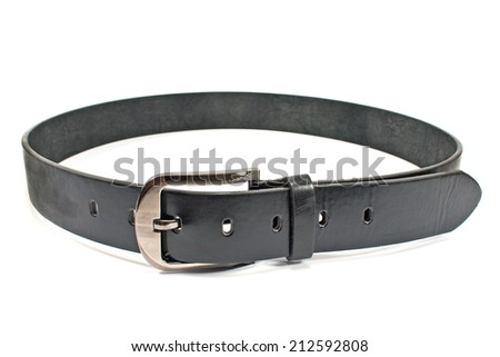 Leather men's belt with clasp isolated on white