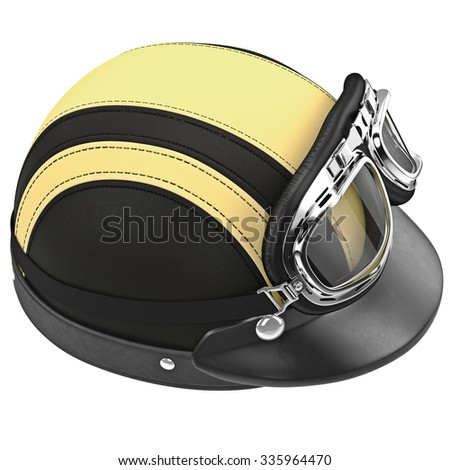 Leather motorcycle helmet with chrome studs. 3D graphic object on white background isolated