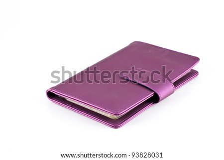 leather note book on white background