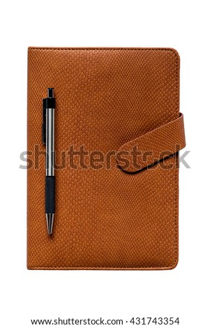 Leather notebook and pen isolated on white background with clipping path - stock photo