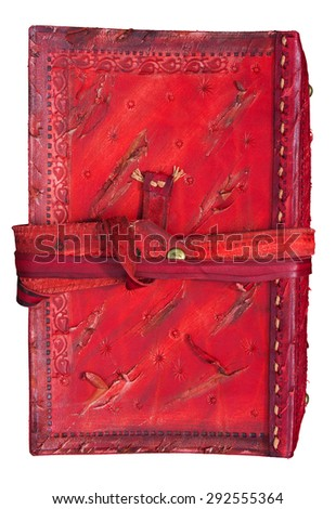 Leather notebook cover in antique style - stock photo