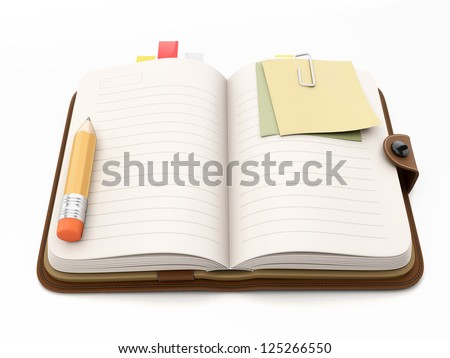 Leather notebook for notes. Icons for applications - stock photo