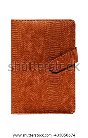 Leather notebook isolated on white background with clipping path - stock photo