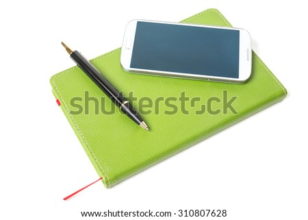 Leather notebook, phone and pen isolated on the white - stock photo