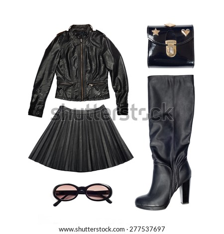 leather outfit of clothes and woman accessories
