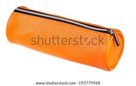 leather pen case isolated on white background - stock photo