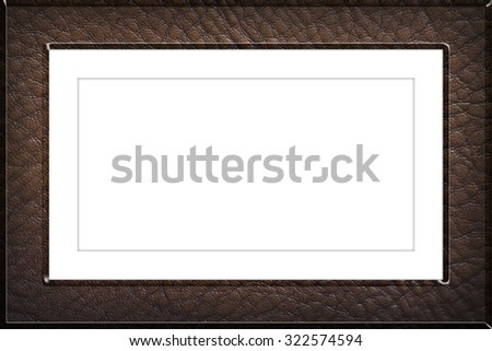 Leather picture frame ,isolated on white background, with clipping path - stock photo