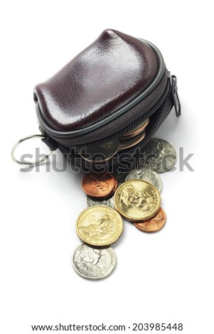 Leather Purse And Assorted US Coins On White Background